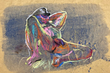 pastel drawing of nude male model in leather fetish hat