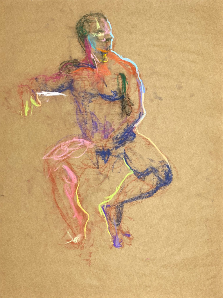 pastel drawing of nude male model sitting