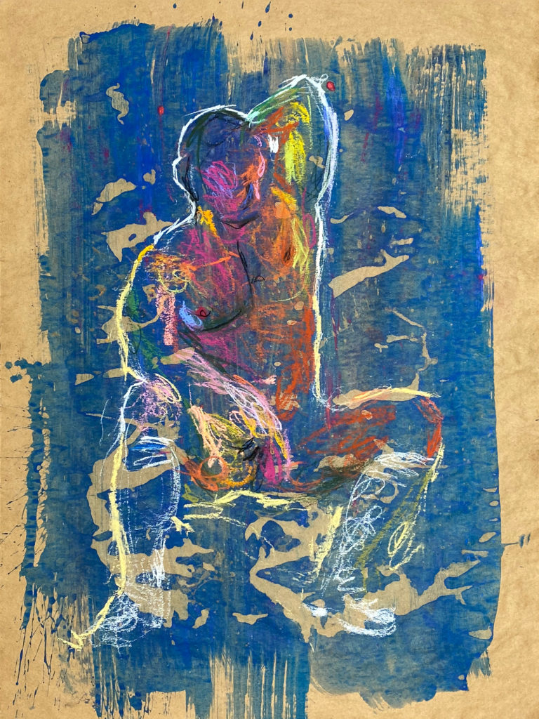 pastel drawing of nude male model in white shoes and gaiters
