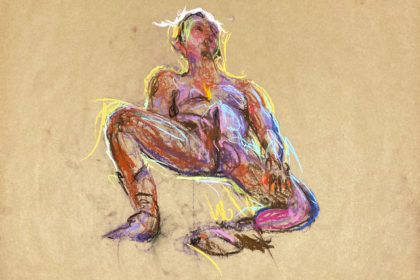 pastel drawing of male model enjoing himself