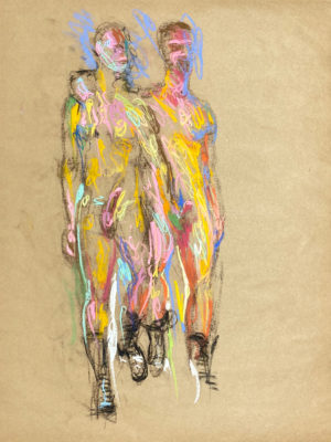 pastel drawing of two nude male models in boots