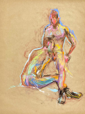 pastel drawing of two male models in boots