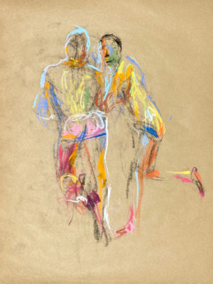 pastel drawing of two male models leaning on counter