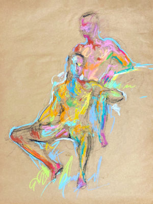 pastel drawing of two nude male models sitting
