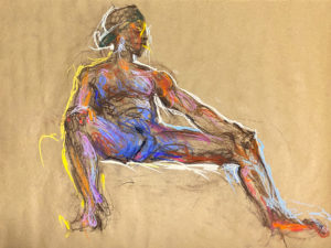 pastel drawing of nude male model reclining in baseball cap