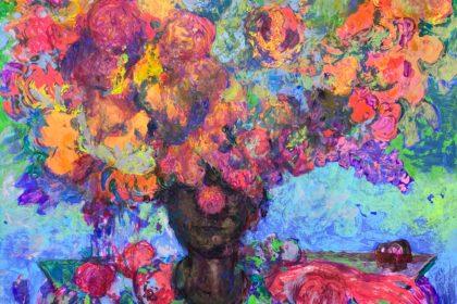 "Bouquet. 2020 Acrylic and tempera on cardboard 25 3/4"" x 29 3/4"" (65 x 76 cm)"