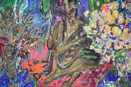"Corals. 2018 Acrylic and tempera on cardboard 30"" x 40"" (76.2 x 101.6 cm)"