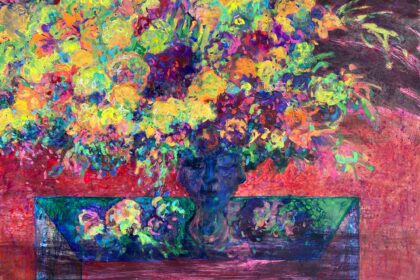 """Flowers in Electric Light. 2020 Acrylic and tempera on cardboard 30"""" x 40"""" (76.2 x 101.6 cm)"""