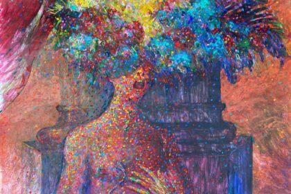 "Self-Portrait as Cleopatra. 2021. Acrylic & tempera on cardboard. 30"" x 40"" (76.2 x 101.6 cm)"