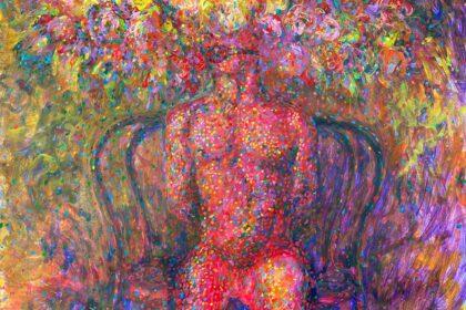 """Lover. 2021. Acrylic & tempera on cardboard. 30"""" x 40"""" (76.2 x 101.6 cm)"""